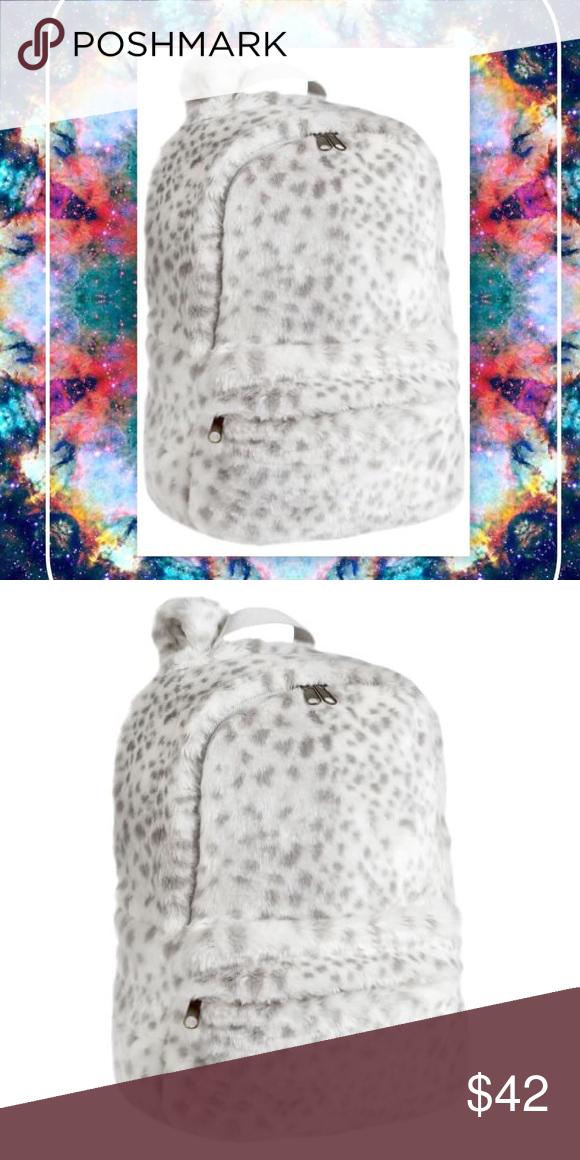 e1dede3a22 Snow Leopard Back Pack   faux fur   Snow Leopard print backpack - faux fur