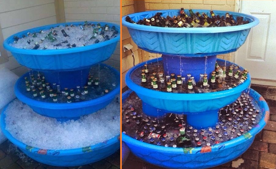 This 3 Level Kiddie Pool Beer Fountain Cooler Is A Must Have For
