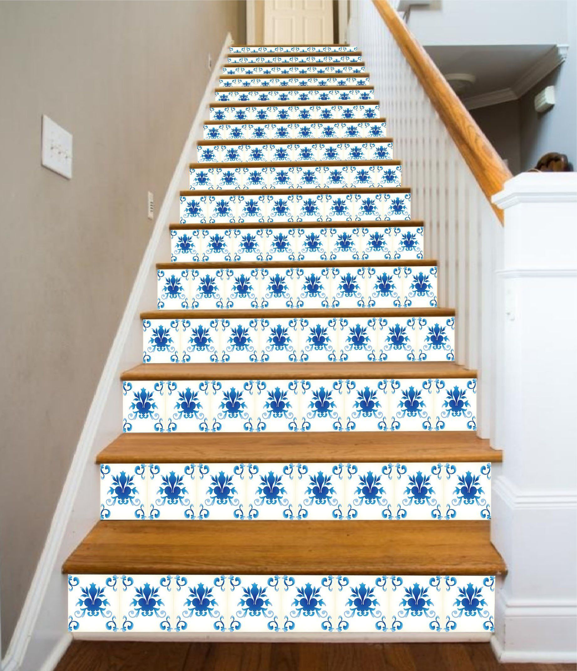 3D Blue Broken Flowers 632 Stair Risers (With images
