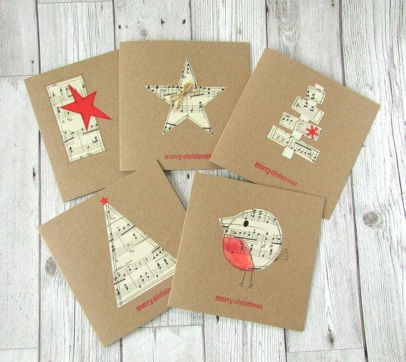 Set of 5 Sheet Music Christmas Cards