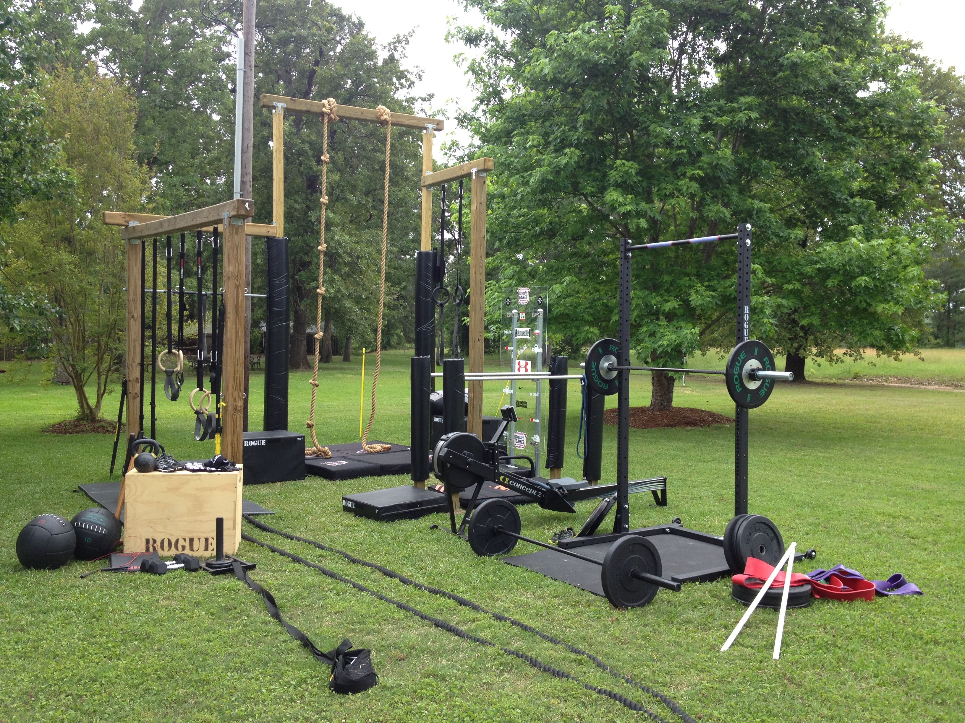 rope, sled, rig, bars and plates b22fit at home gym, backyard