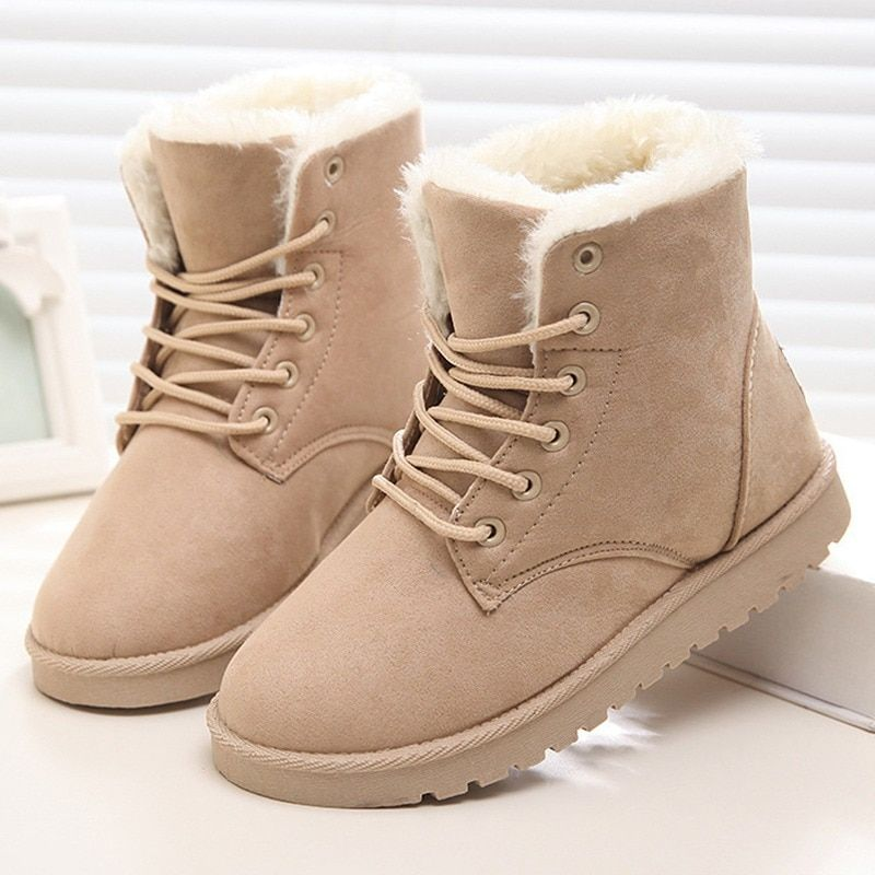 6dbae46050f women s boots Winter Suede Ankle Boots Women Solid Short Plush Women Snow Boots  Warm Fur australian boots Lace-Up Female Shoes