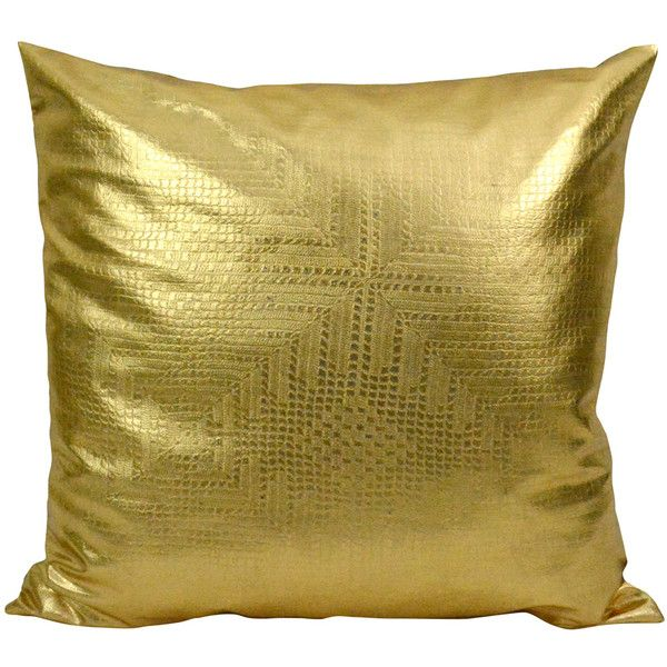 Maia Leather Pillow Accent Chair: Jett Geometric Gold Faux Leather Pillow