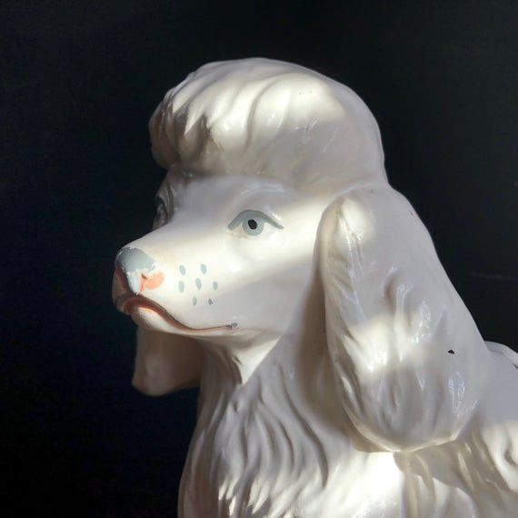 White Poodle Dog Planter with Puppy  Air Plant Holder Succulent Planter  Vintage Ceramic Plant Holder Boho Decor Housewarming Giftair