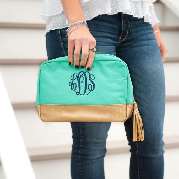 a21f49b49e02 Personalized Toiletry Bag, Monogram Travel Case, Custom Cosmetic Bag ...