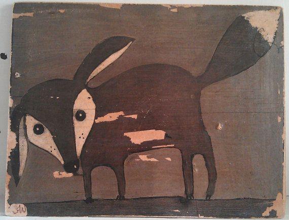 Photo print on wood board fox cub black and white by oswaldflump, $45.00