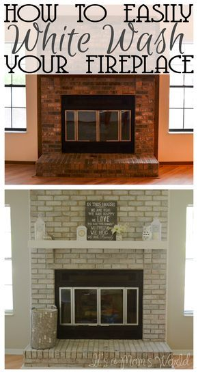 Its A Moms World How To White Wash Your Fireplace In 3