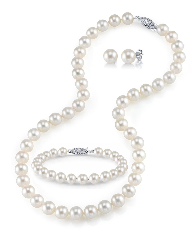 New 7-8mm Black Freshwater Cultured Pearl Necklaces Bracelets Earrings Set AA