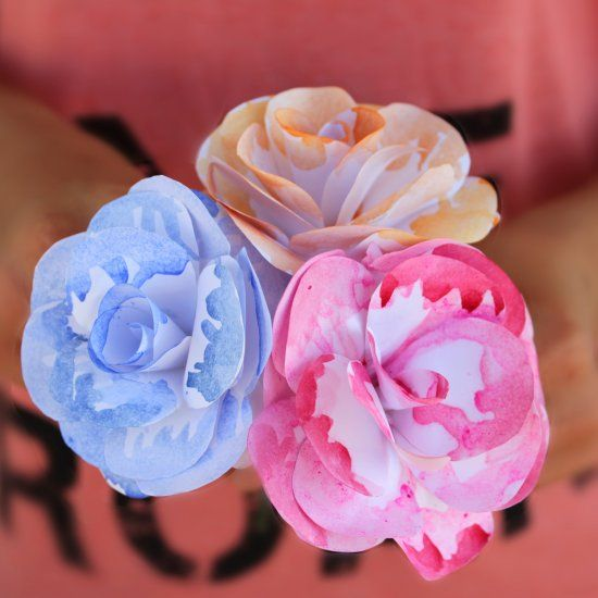 Give A Pop Of Color To Your Paper Flowers With Watercolor Flowers