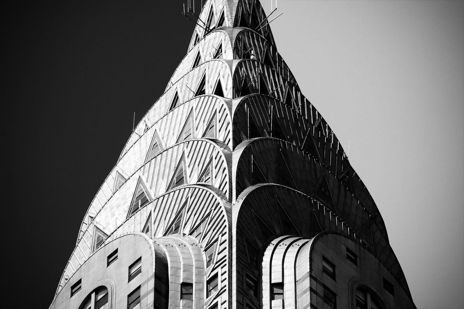 Black And White Photo Of Chrysler Building Spire New York By
