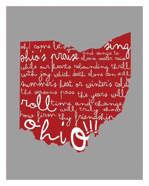 Ohio State Wall Art ohio state university wall artkcscreative on etsy | dream home