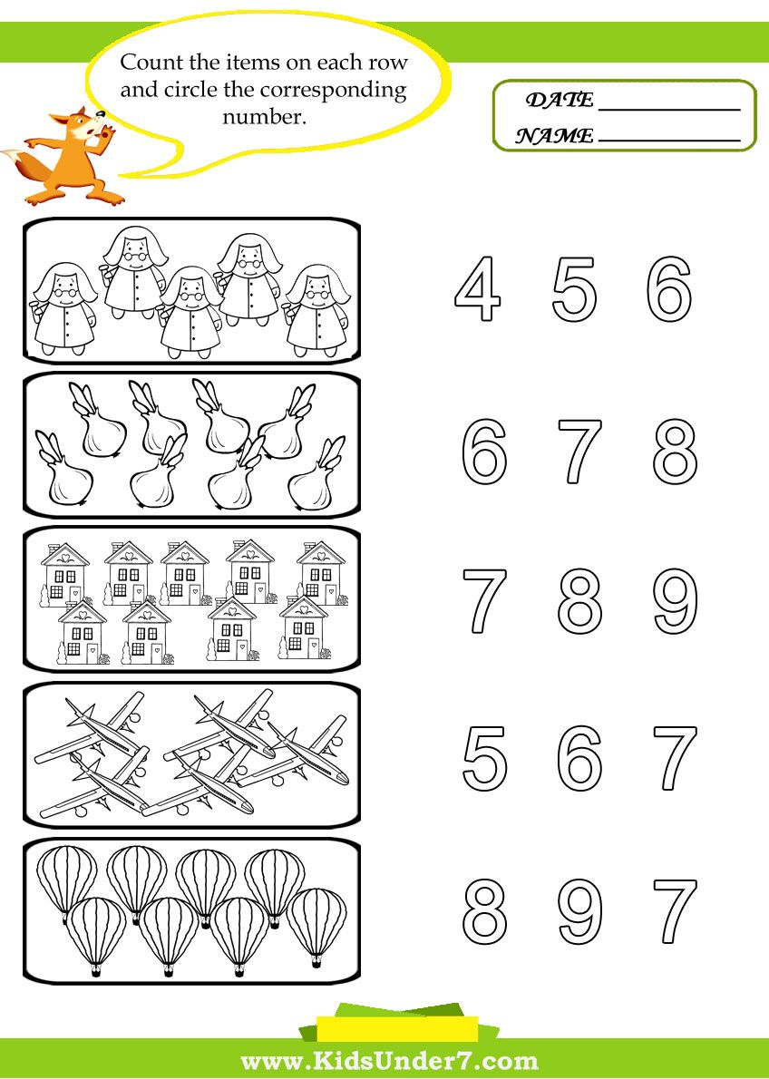 Kids Under 7 Preschool Counting Printables (With images