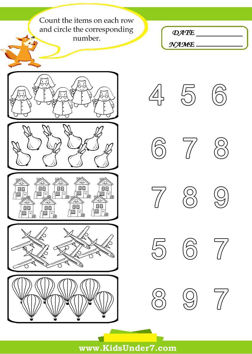 kids under 7 preschool counting printables pre k number worksheets pinterest. Black Bedroom Furniture Sets. Home Design Ideas
