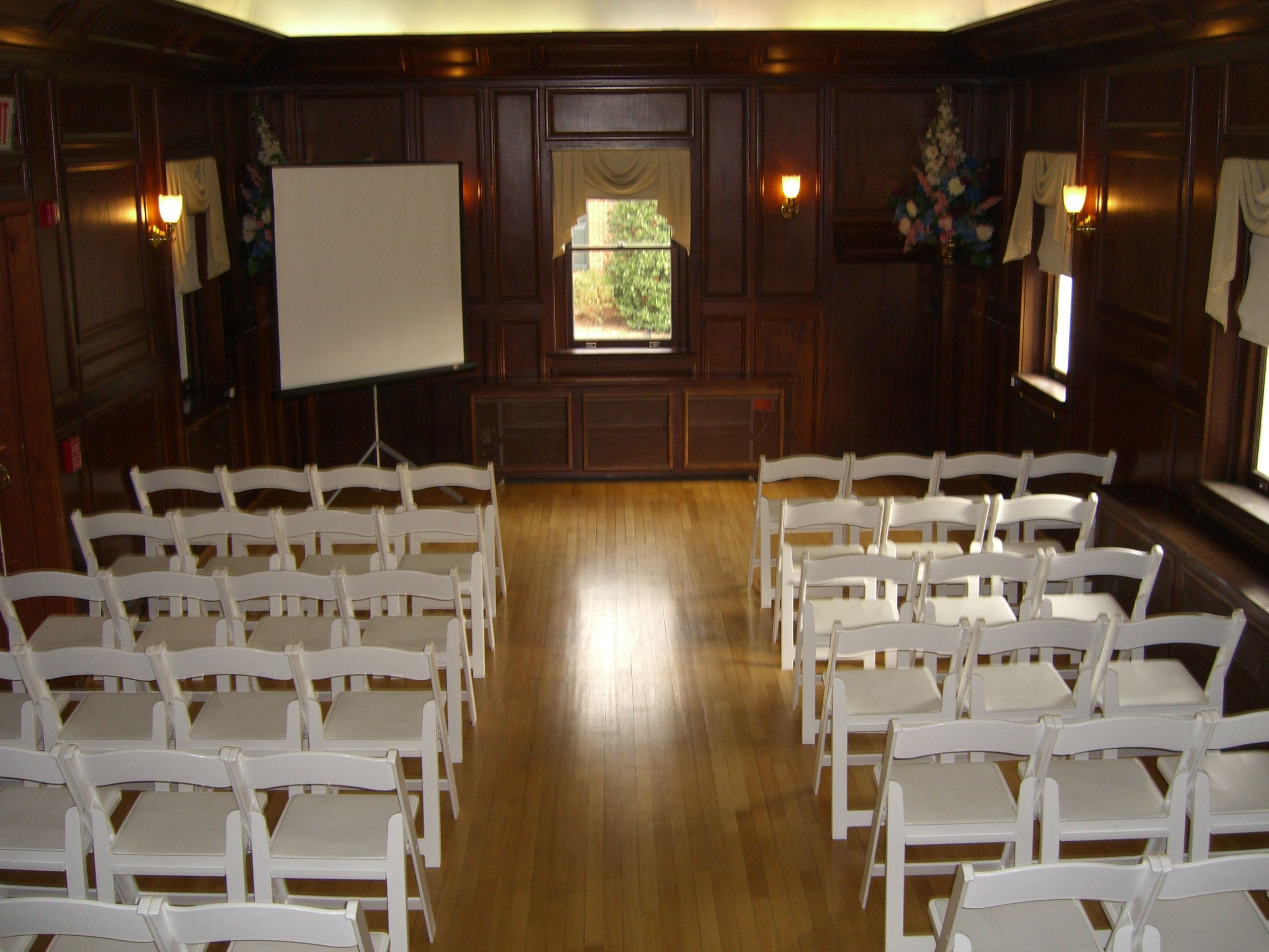 The music room can also be setup for a lecture style event.  Kentlands Mansion provides all of the tables and chairs for your event.