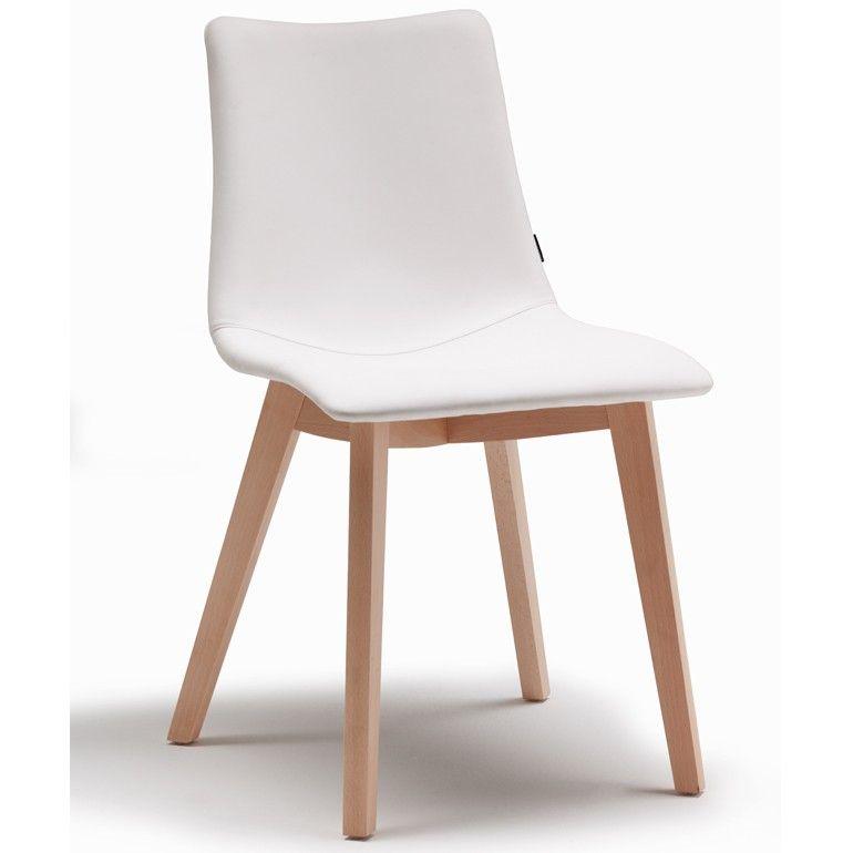 Designer Stuhl Weiß Kunstleder Beine Holz Natural Zebra Pop 229 Euro