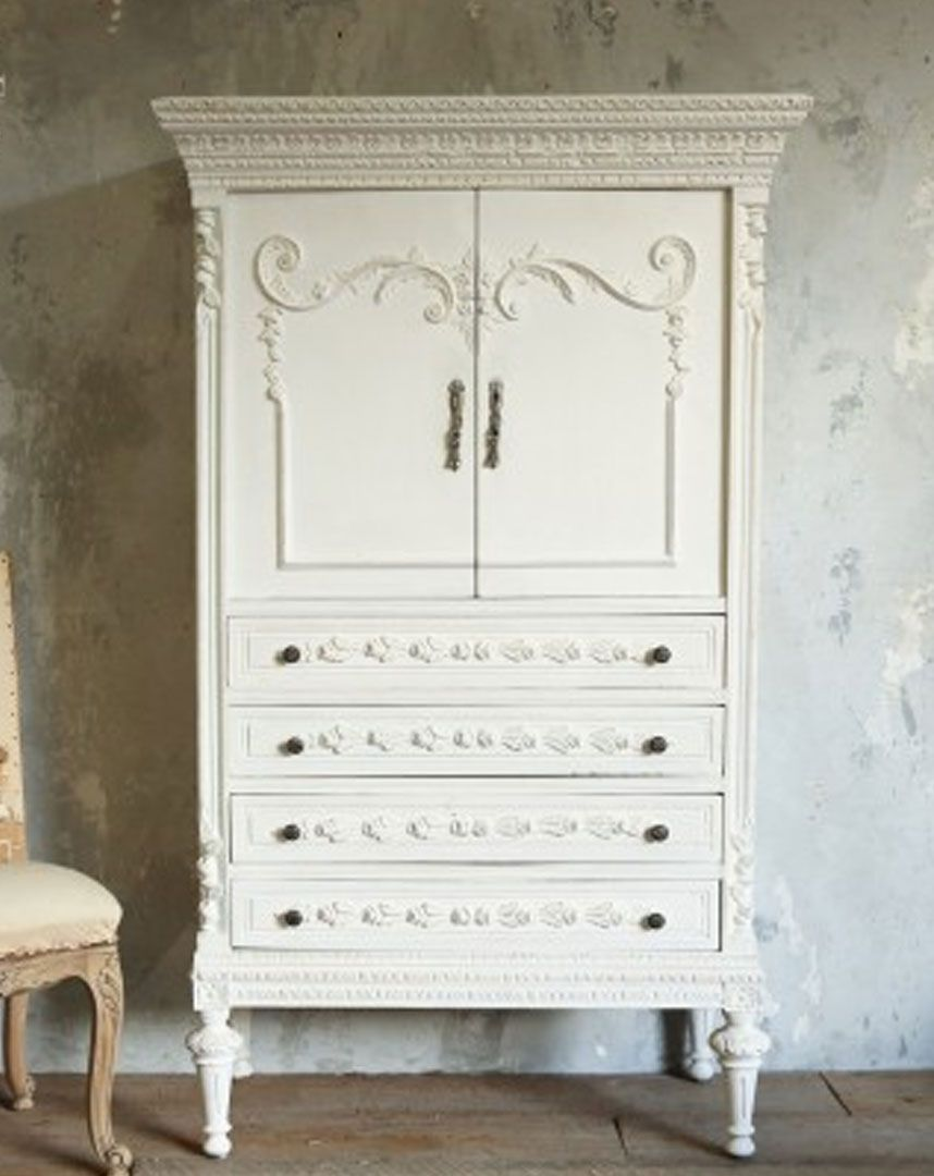 Vintage Armoire In Distressed White Finish Vintage Armoire In Distressed  White Finish, Shabby Chic