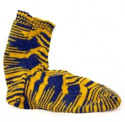 Mountaineer WVU Blue and Gold Socks,  Fun to Knit.