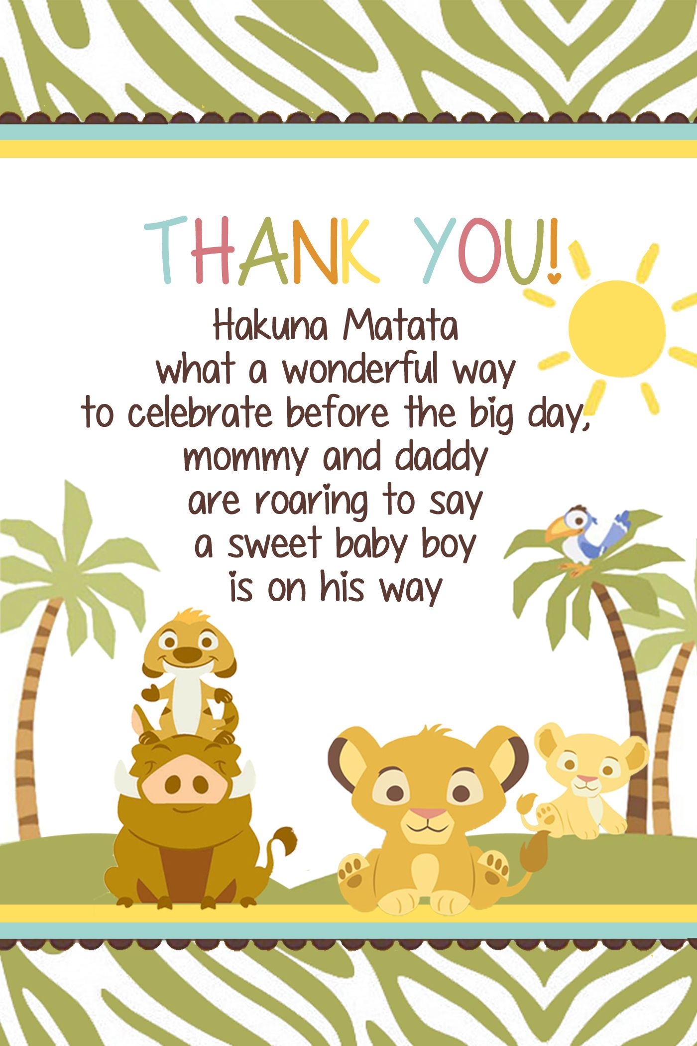 Simba Lion King Baby shower thank you card $4.50 available at www ...