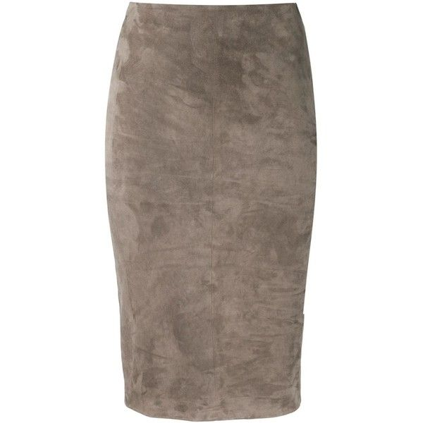 Brunello Cucinelli pencil skirt ($2,660) ❤ liked on Polyvore featuring skirts, brown, brown high waisted skirt, knee length pencil skirt, high rise skirts, brown pencil skirt and mid length skirts