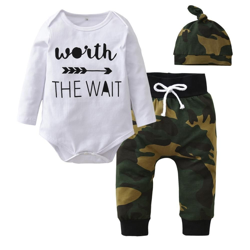 060b46dd591e Baby Boys Girls Clothing Set Cotton Long sleeve Army Green Infant ...