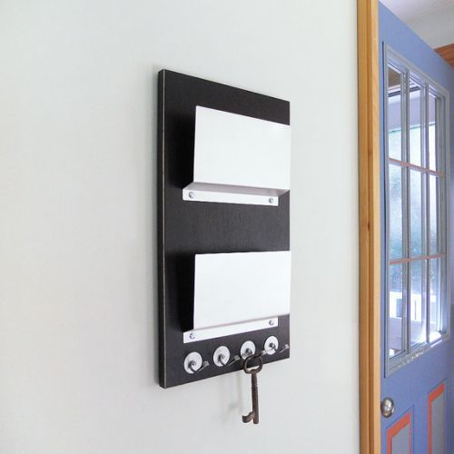 NIGHT: black modern double pocket wall mount mail holder key rack - NIGHT: Black Modern Double Pocket Wall Mount Mail Holder Key Rack