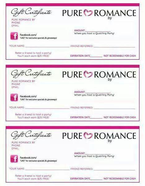 Pure Romance Gift Certificates Pure Romance In 2019 Pure Romance