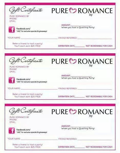 Pure Romance Gift Certificates