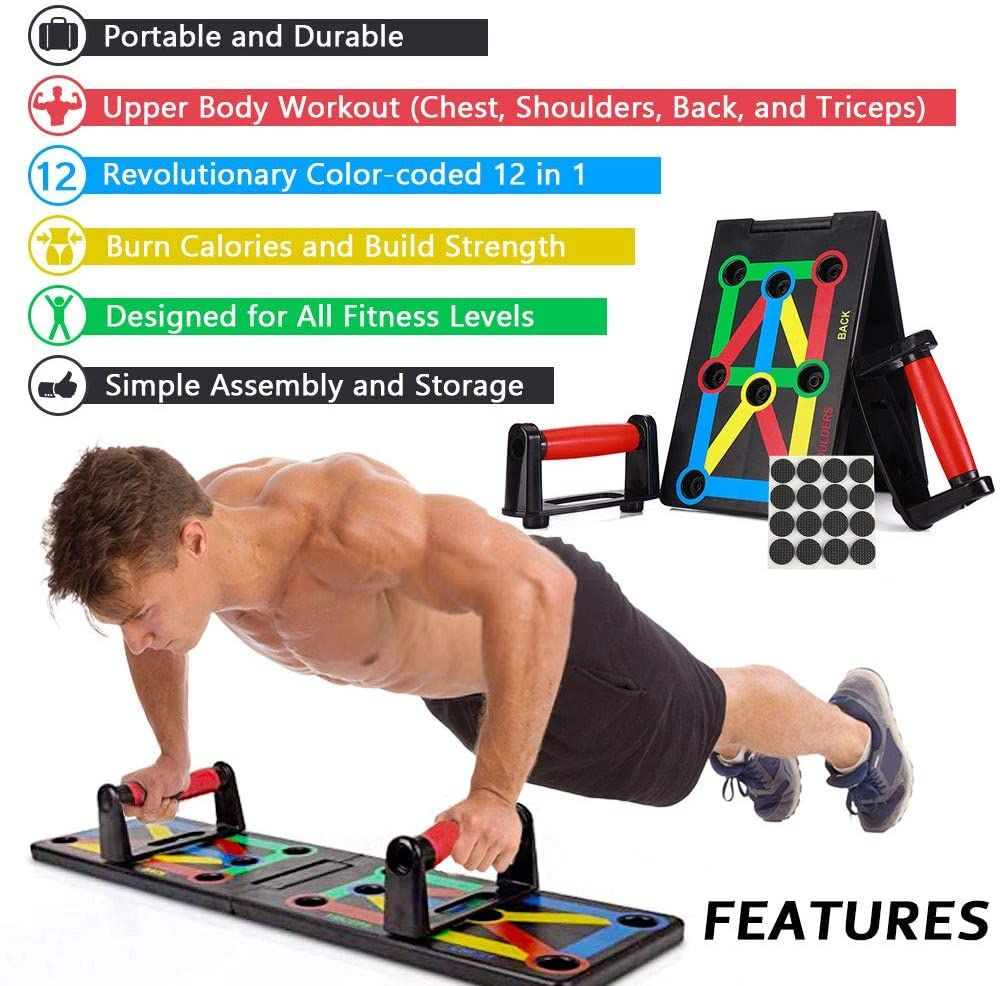 Foldable 9 in 1 Push Up Rack Board Train Gym Fitness System Workout