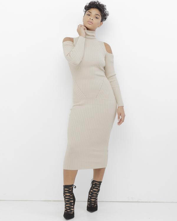 b900695fbbd COLD SHOULDER Ribbed Knit Turtleneck Midi Dress in Nude at FLYJANE