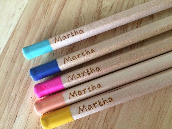 Personalised Colouring Pencils 5 Mixed Customised With A Name Or Words Of Your Choice