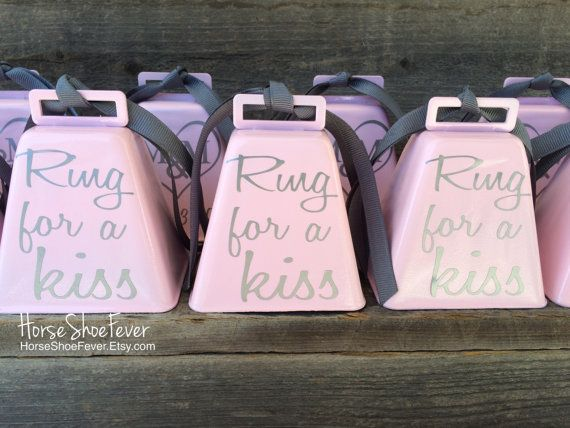 Ring For A Kiss Custom Color Wedding Cowbell By Horseshoefever