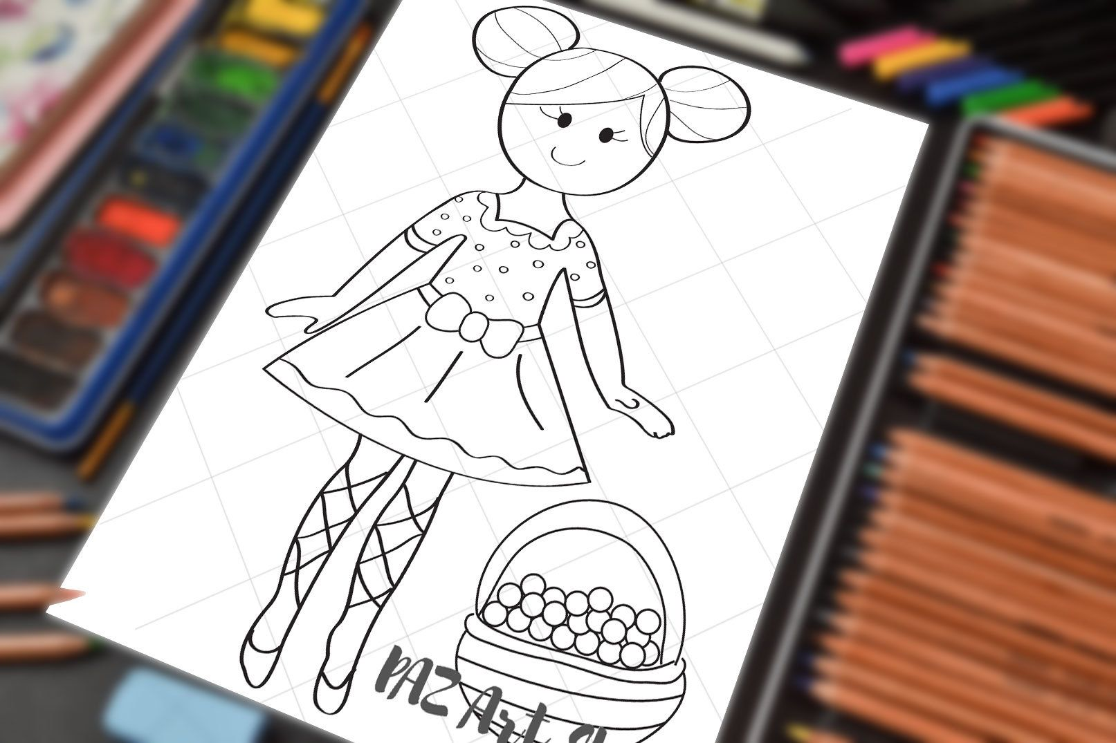 Country Girl Coloring Page For Children Coloring Pages For Girls Coloring Pages Diy Digital Paper