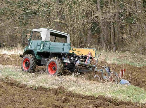 Plowing with a Unimog.
