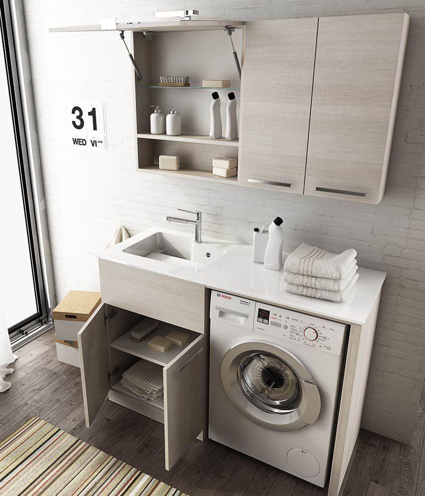 Mobile lavanderia lavatoio porta lavatrice con mensole e