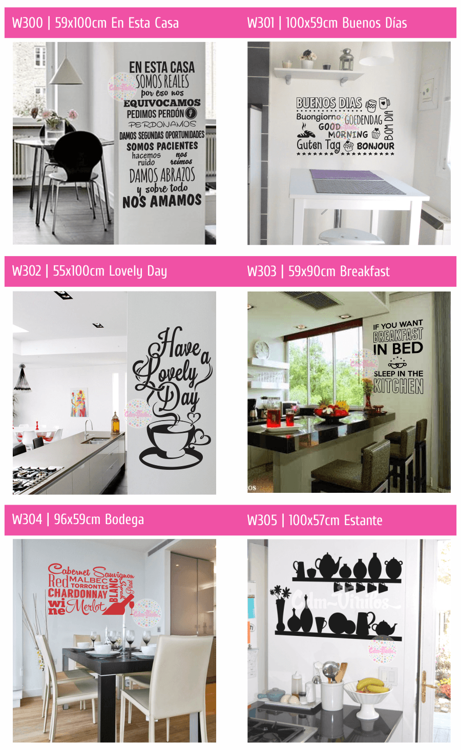 vinilos decorativos pared, decoracion cocina frase, tipografico ...