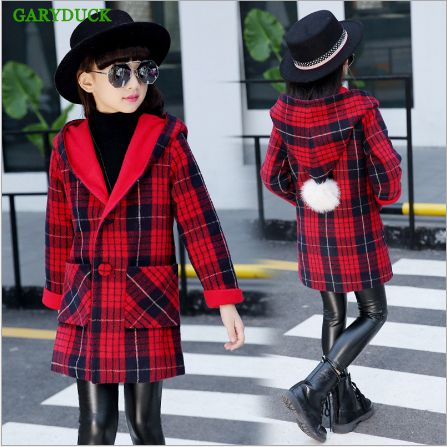 >> Click to Buy << GARYDUCK 2017 New Fashion Spring/Autumn girls jackets Wool Cardigan Collar Plaid Windbreaker casual hooded outerwear for girls  #Affiliate