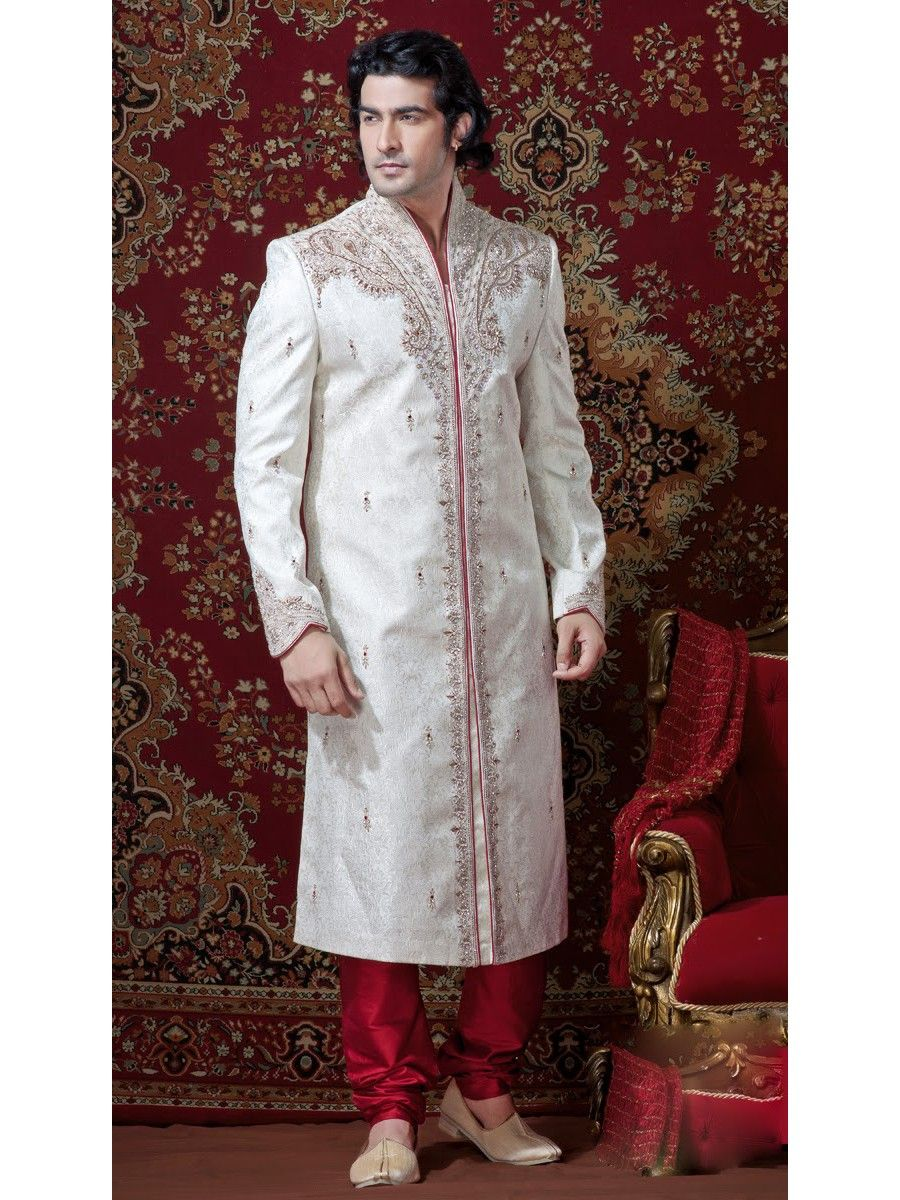 Buy wedding white and red embroidered sherwani at great discounts