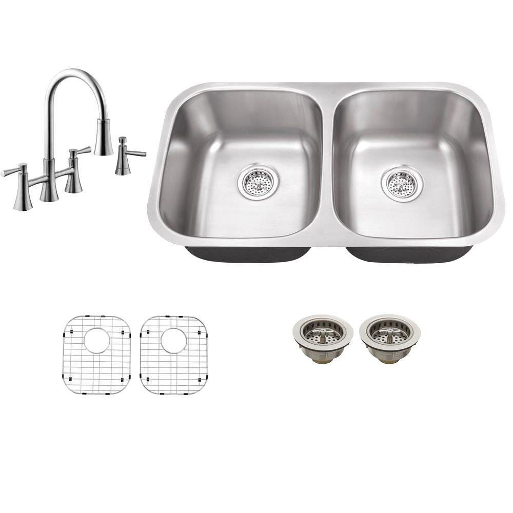 Schon All In One Undermount Stainless Steel 32 In 0 Hole Double Bowl Kitchen Sink With Faucet Sc867550ss Double Bowl Kitchen Sink Sink Double Bowl Sink