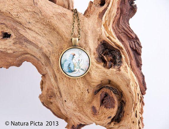 Blue Caterpillar Alice in Wonderland necklace by naturapicta, $12.95