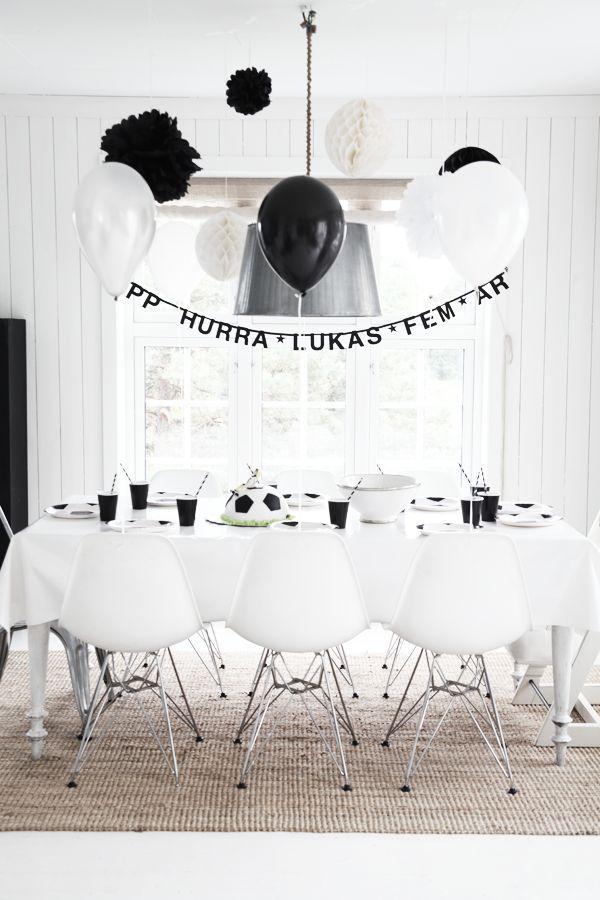 Black And White Football Theme Party Monochrome Party Kids