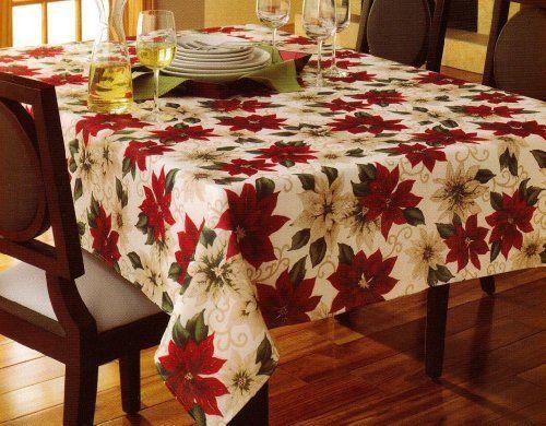 "St. Nicholas Square Traditions Poinsettia Tablecloth (90"" - Round) St. Nicholas Square http://www.amazon.com/dp/B00JU7H9MG/ref=cm_sw_r_pi_dp_RDptub0TCX2XT"
