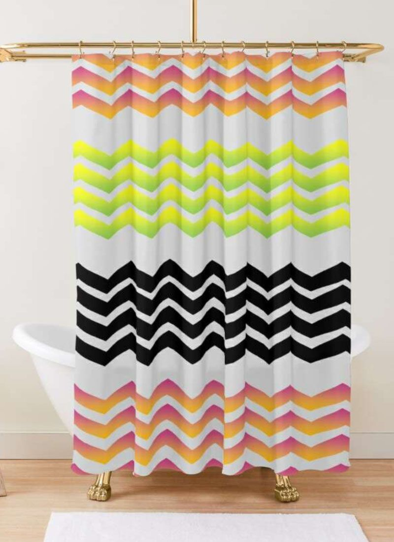 Classic Retro Chevron Black Pink And Yellow Pattern Shower Curtain By Lataisa Patterned Shower Curtain Yellow Pattern Curtains