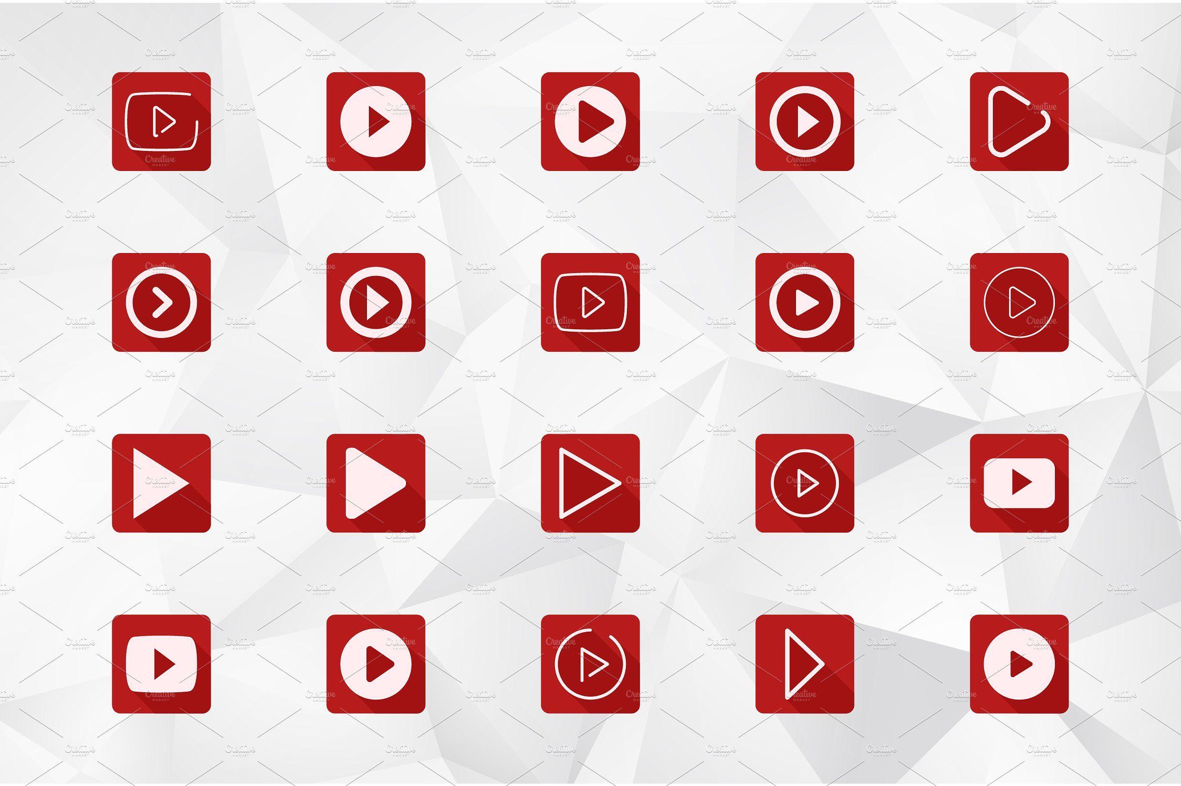 Play Button Icon Set Designedflexibleeffective