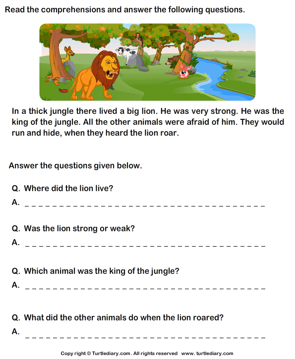 Reading Comprehension Stories Worksheet 3 - Turtle Diary | Reading ...