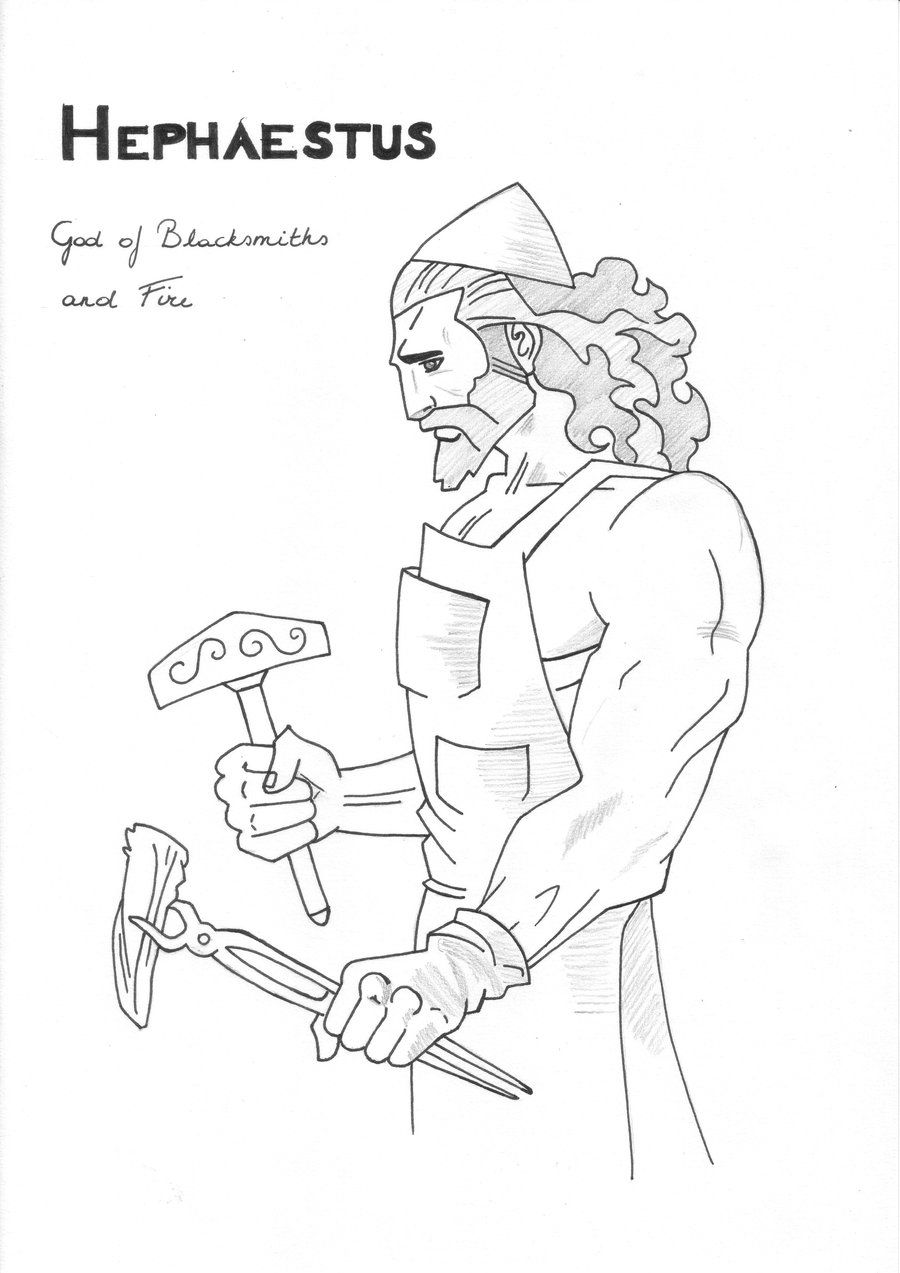hephaestus god of blacksmiths and fire greek mythology pinterest