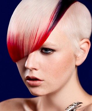 short blonde straight coloured multi-tonal shaved sides ...