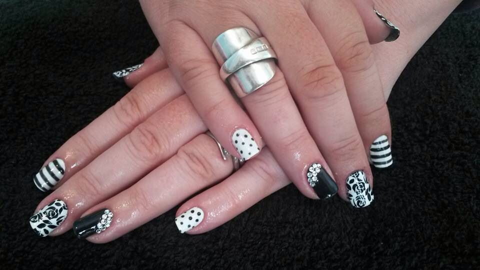 Monochrome nails with Moyou London stamping and Swarovski crystals