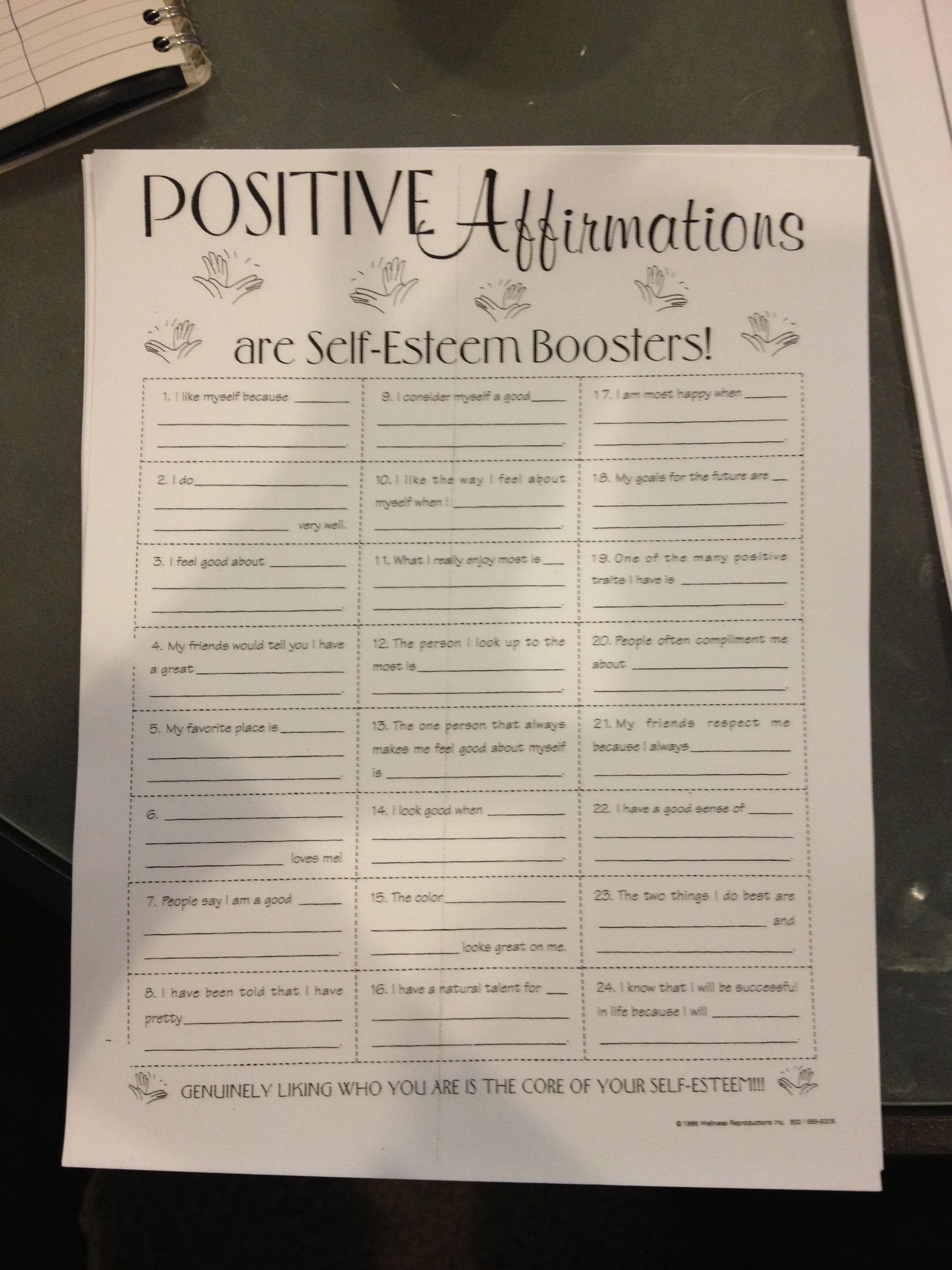 Positive Affirmations Worksheet