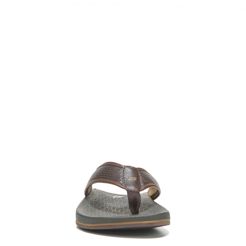c5b83512e48b7 Skechers Men s Emiro Relaxed Fit Memory Foam Thong Sandals (Chocolate) - 11.0  M