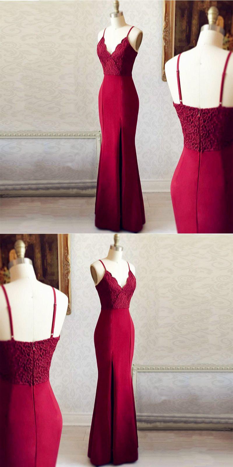 Mermaid Spaghetti Straps Side Slit Burgundy Long Prom Dress with
